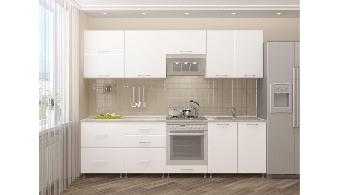 """Кухня """"Белый Матовый ЛДСП"""" 2,4м."""