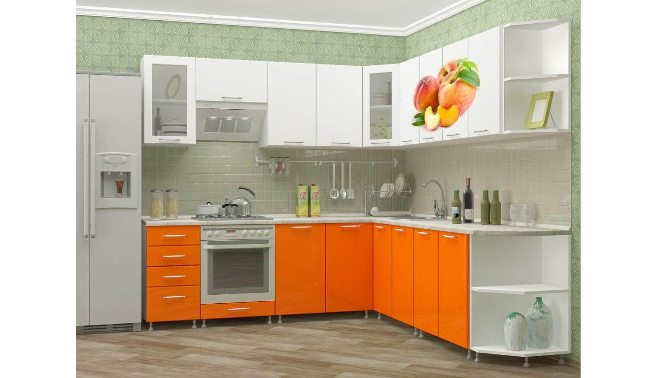 """Кухня """"Персик МДФ""""  угловая 2,4х2,5м."""