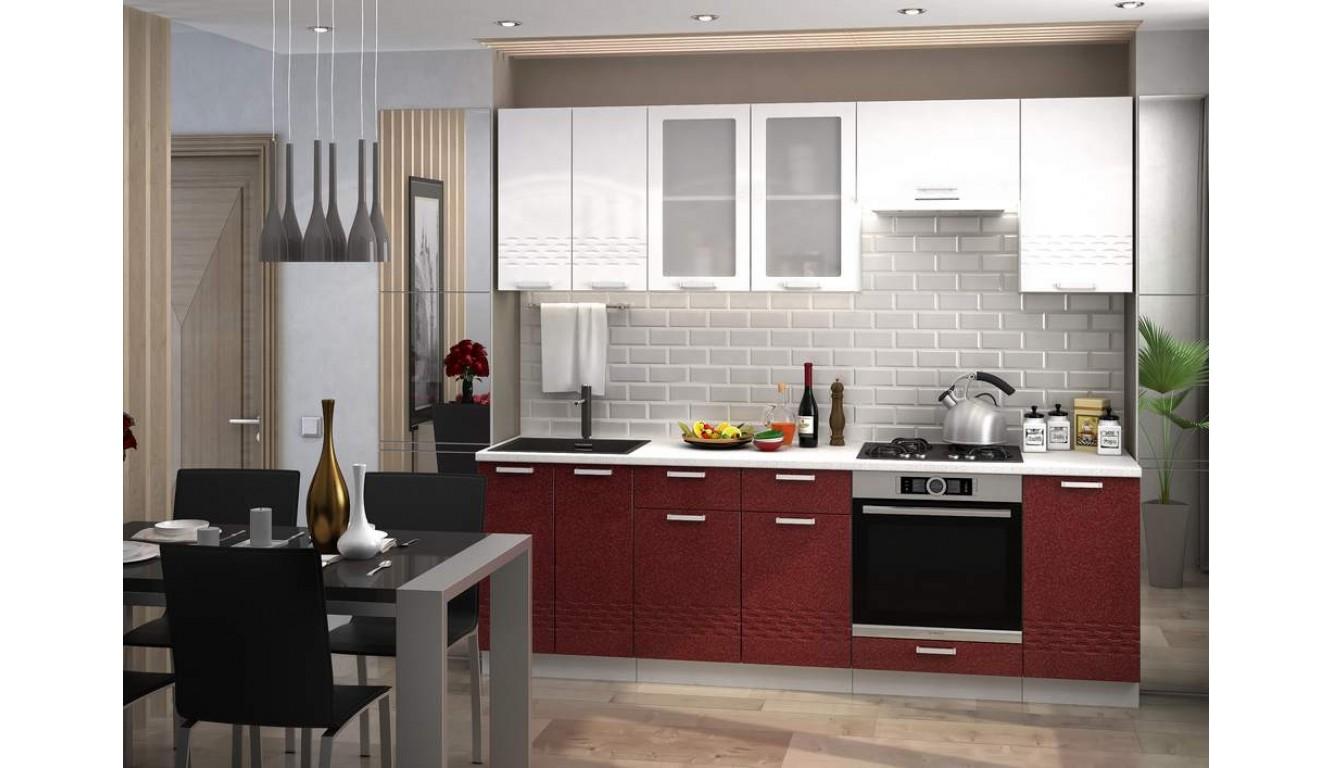 Кухня Волна Красный  \ Белый глянец  МДФ 2,4м.