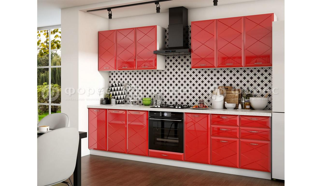 Кухня Бостон красный 3,0м