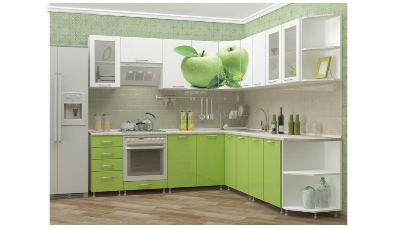 """Кухня """"Яблоко МДФ""""  угловая 2,4х2,5м."""