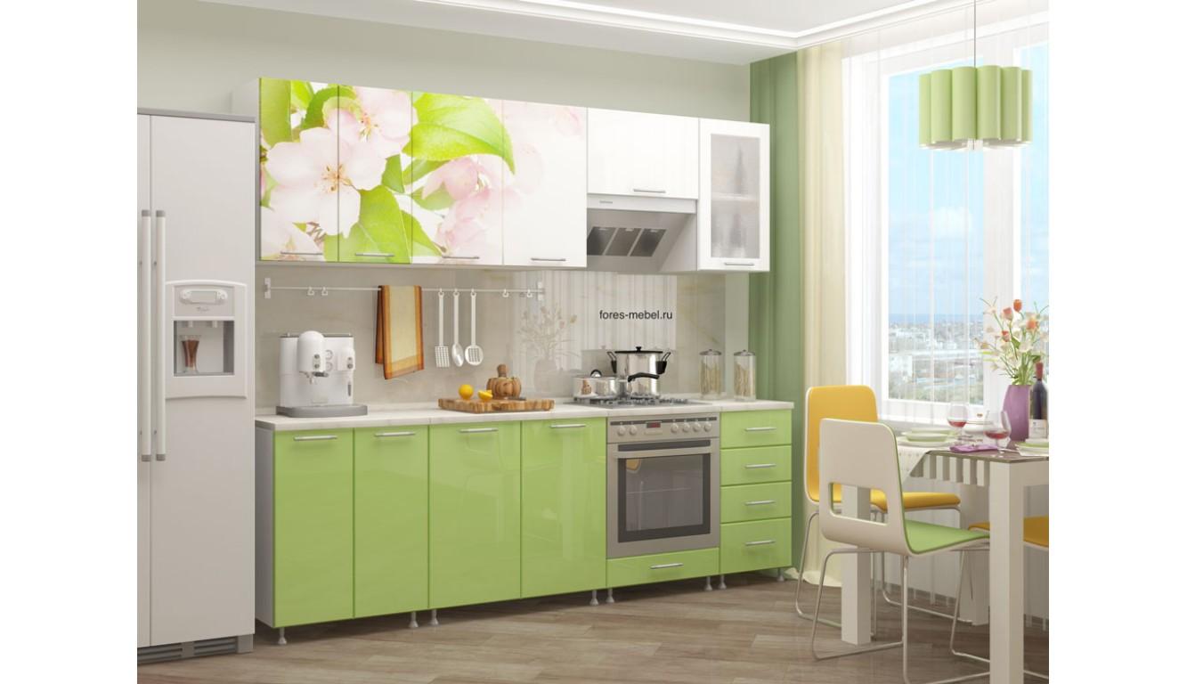 """Кухня """"Яблоневый цвет МДФ"""" 2,4м."""