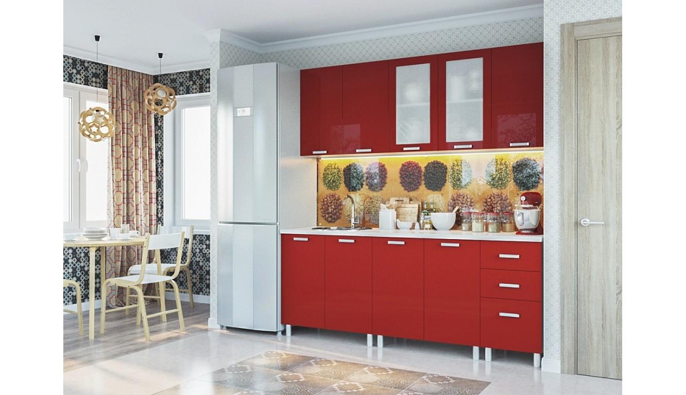 """Кухня """"Красный металлик МДФ"""" 2.0м."""