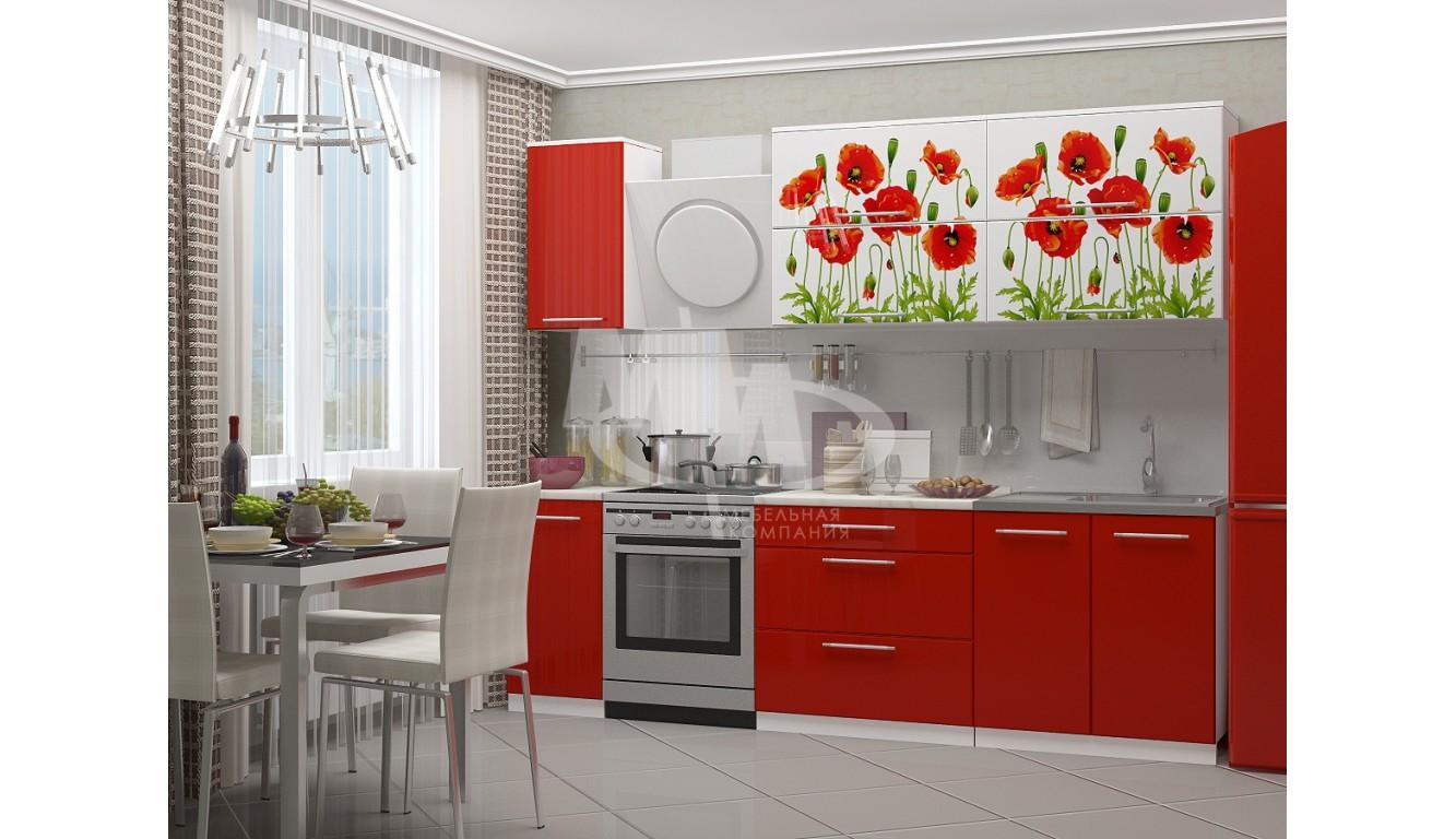 """Кухня """"Маки красные на белом МДФ"""" 2м."""