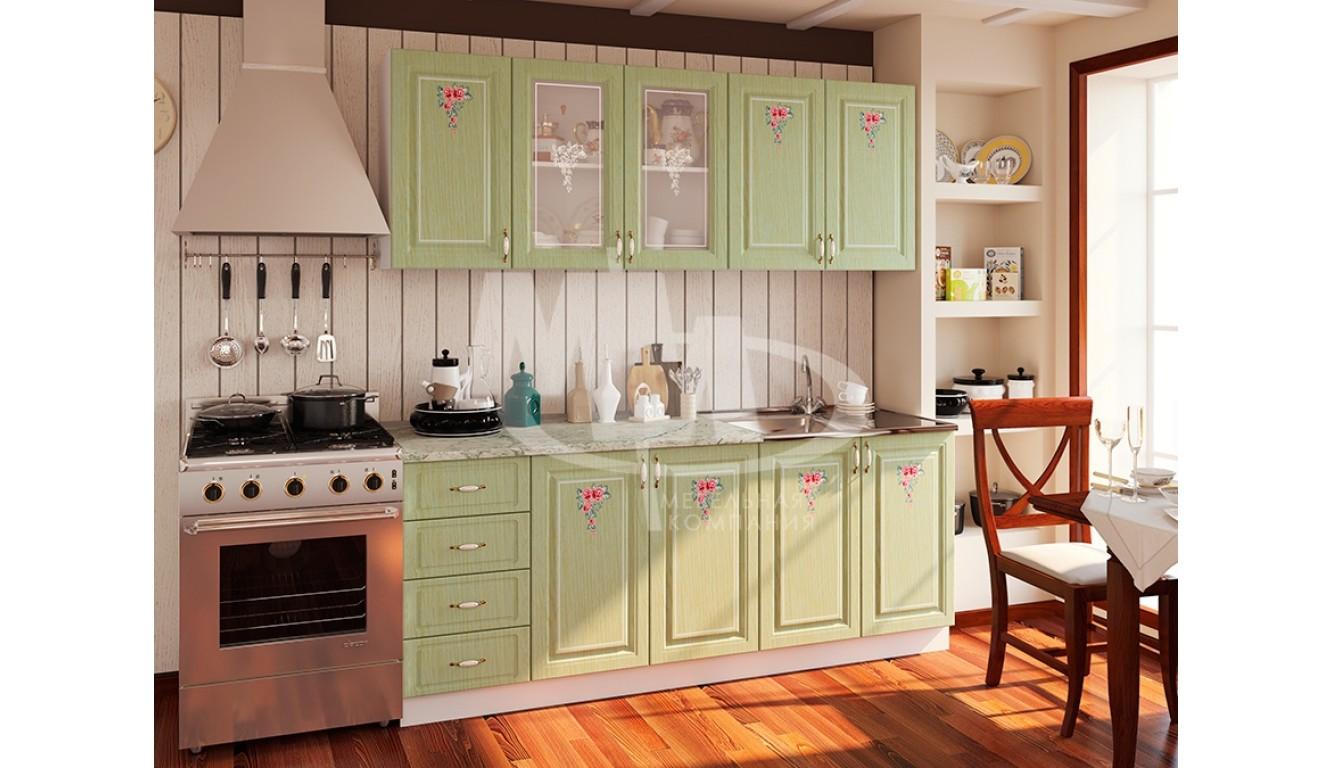 """Кухня """"Мила зеленая МДФ""""  2м."""