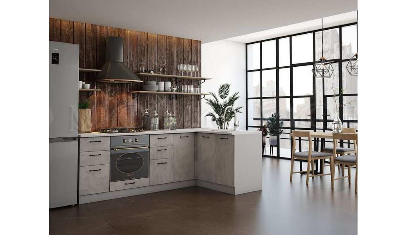 Кухня угловая  «Техно» Бетон 2.4х1.4  метра