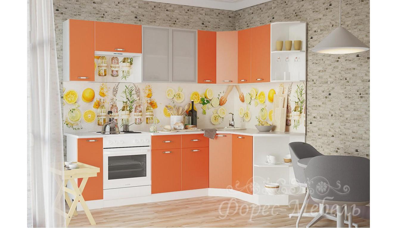 Кухня угловая Ораньжевый ЛДСП 2.65х1.65 метра