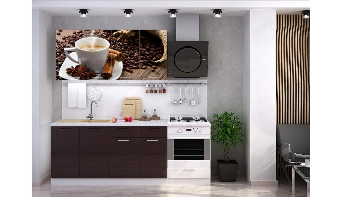 """Кухня """"Кофе МДФ"""" 1.6 м."""