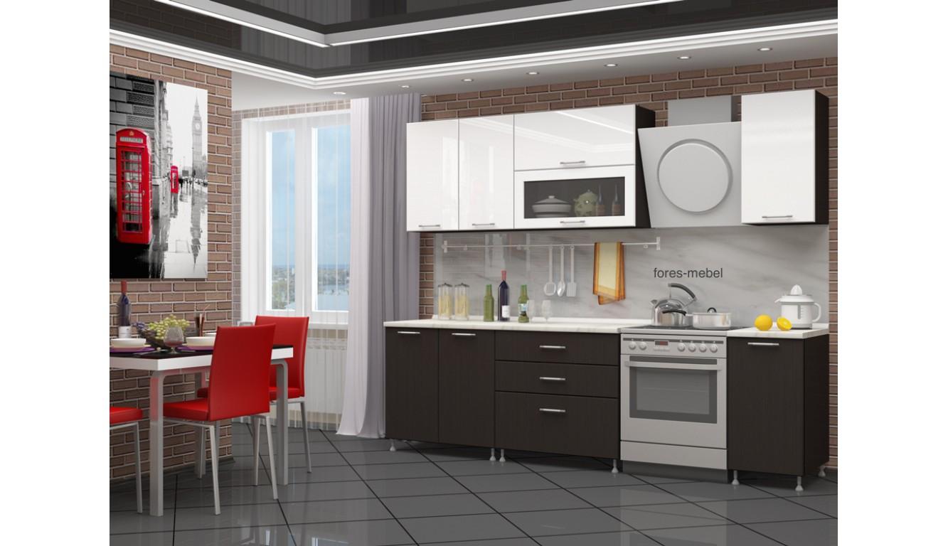 "Кухня ""Венге матовый \ Белый глянец МДФ"" 2м."