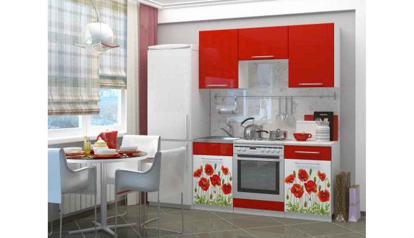 """Кухня """"Маки красные на белом МДФ"""" 1,6м."""