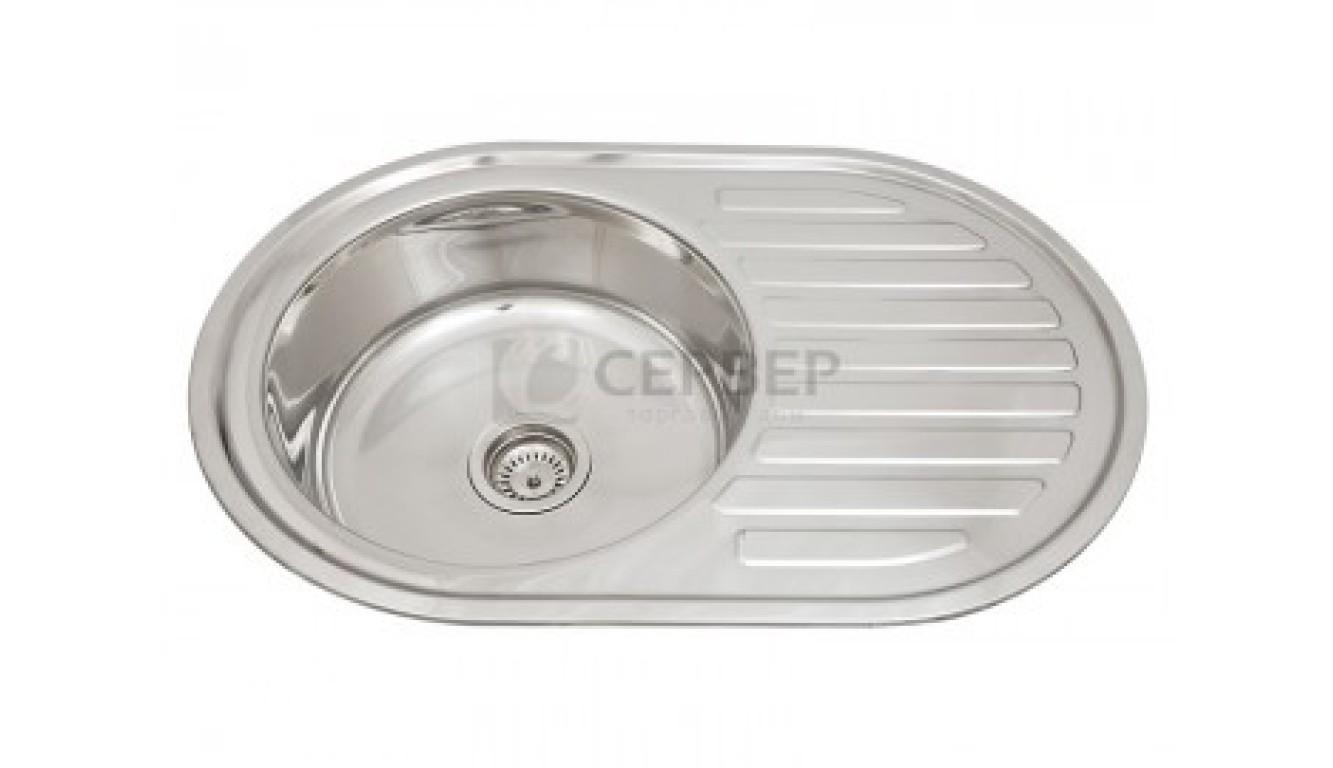 Мойка кухонная врезная 7750BL, 770x500x180, 0,8мм, выпуск 3 1/2, нержавейка, полированная