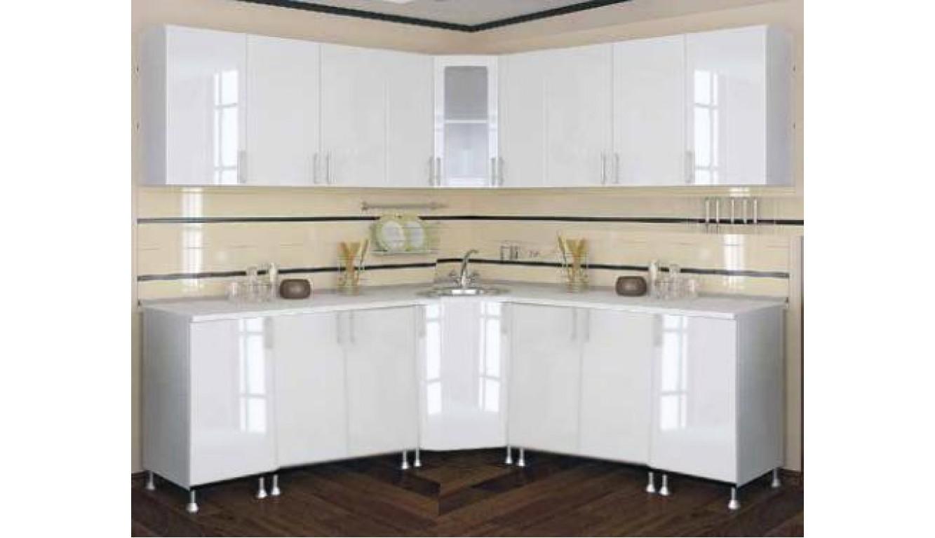 Кухня угловая Белый глянец 2,03 х 2,03 метра
