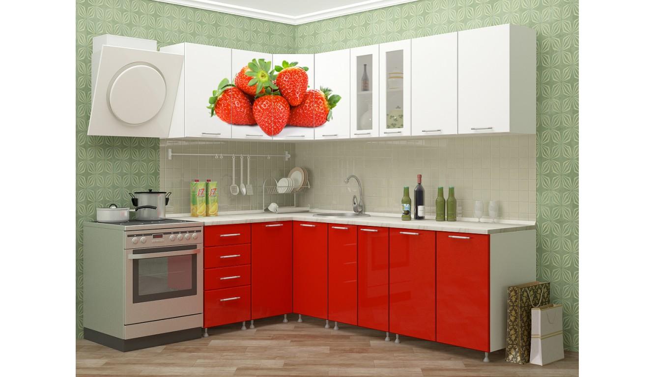 "Кухня ""Клубника МДФ""  угловая 1,4х2,4м."