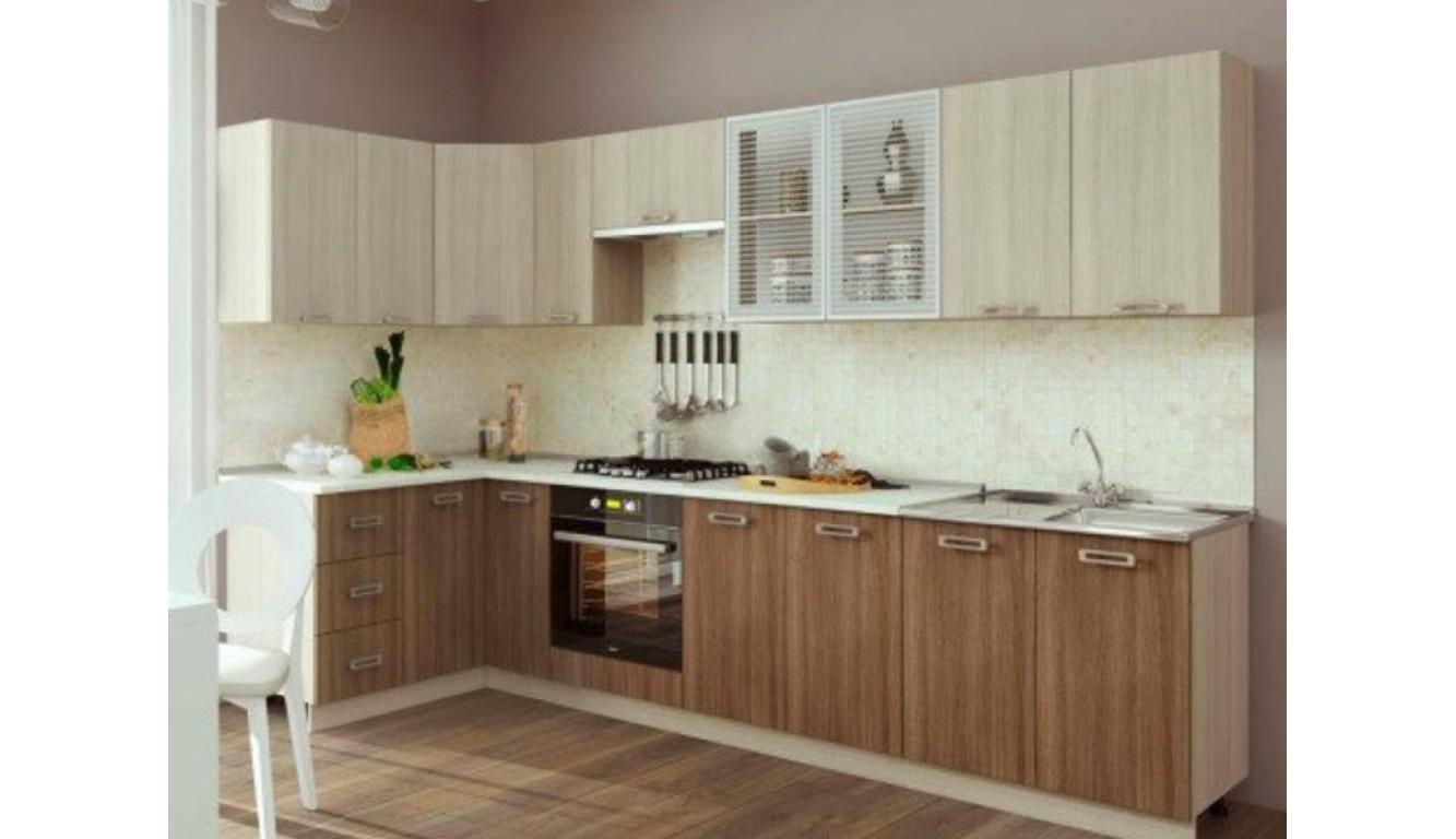 Кухня угловая Ясень темный \ светлый 1,4 х 3,2м