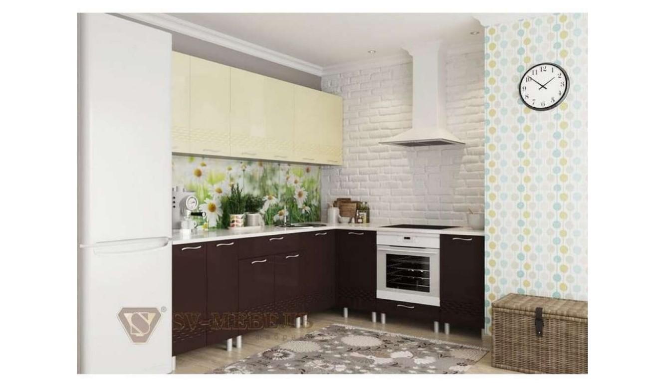 Кухня Шоколад глянец \ ваниль глянец 2,6 х 2,0м