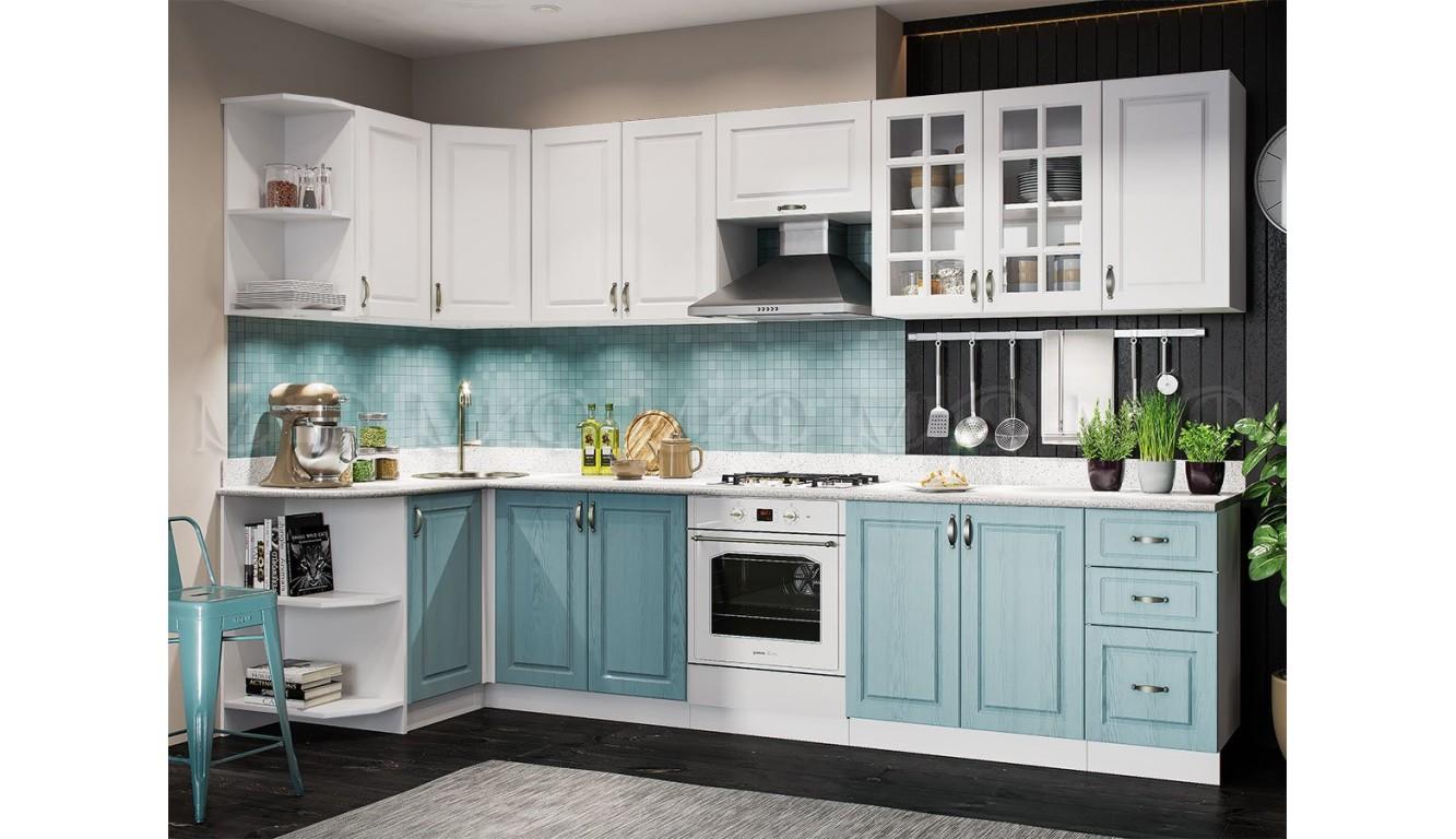Кухня угловая Квадро массив скай 1,3 х 3,2м