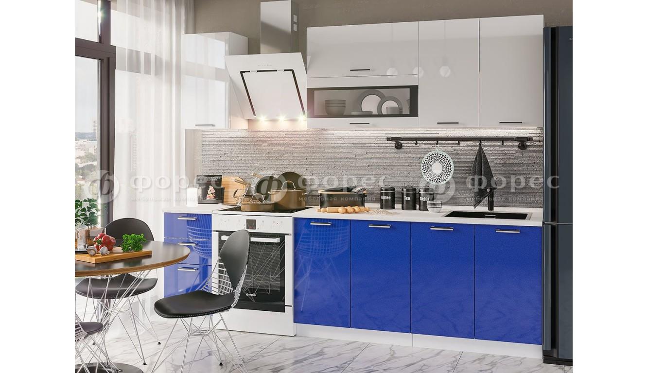 Кухня Рио Синий металлик  \ белый глянец 2,0м