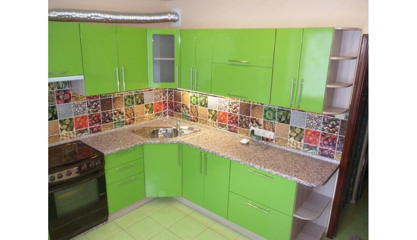 """Кухня """"Техно салатовая МДФ"""" угловая 1,33х2,83м."""