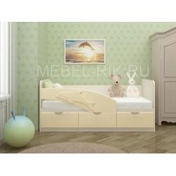 """Детская кровать """"Дельфин"""" 160х80 ваниль Уценка"""