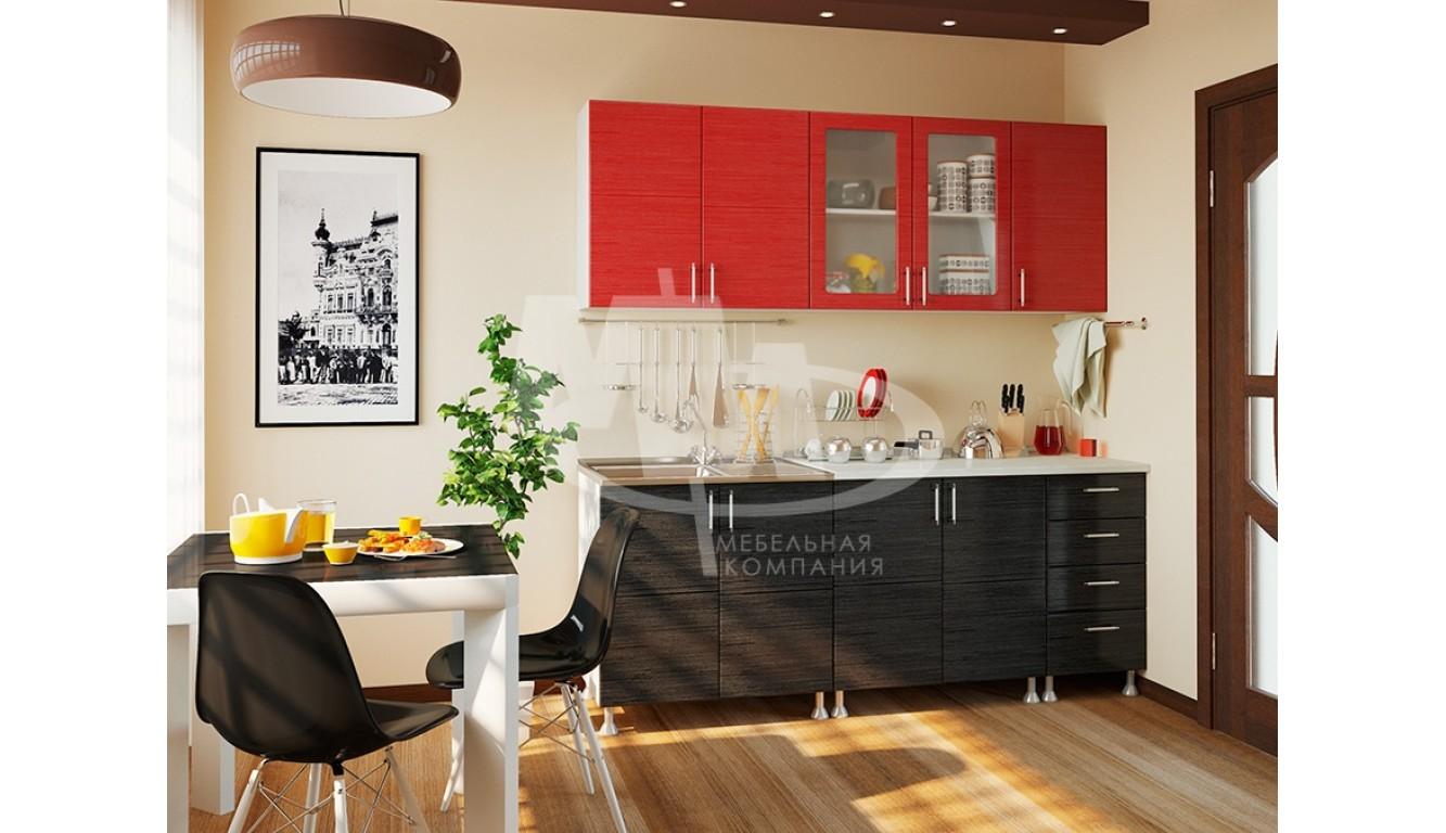 """Кухня """"Микс красно черный МДФ"""" 2м."""