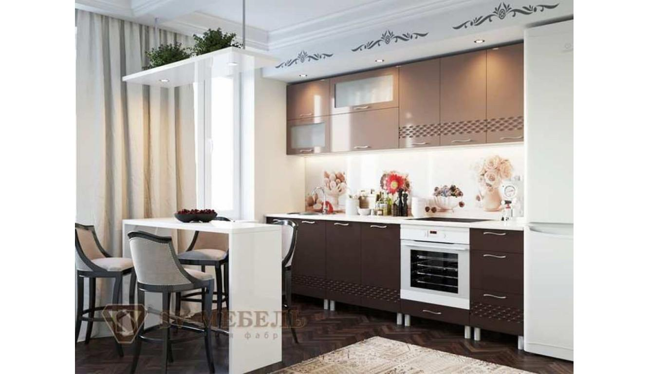 Кухня Волна Шоколад \ Капучино глянец 2,4м