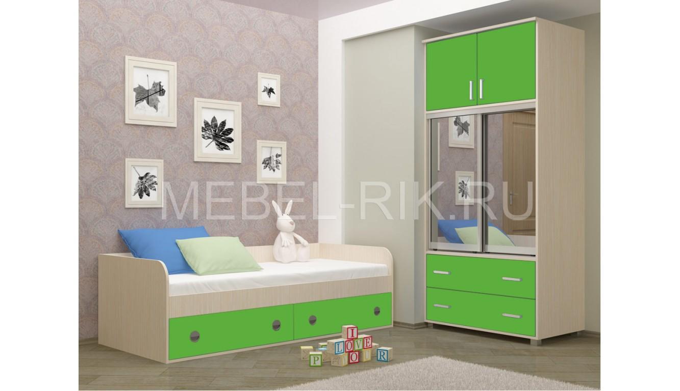 """Детская кровать """"Радуга"""" зеленая"""