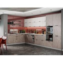 Кухня угловая  «Техно» Бетон 1.9х3.7 метра