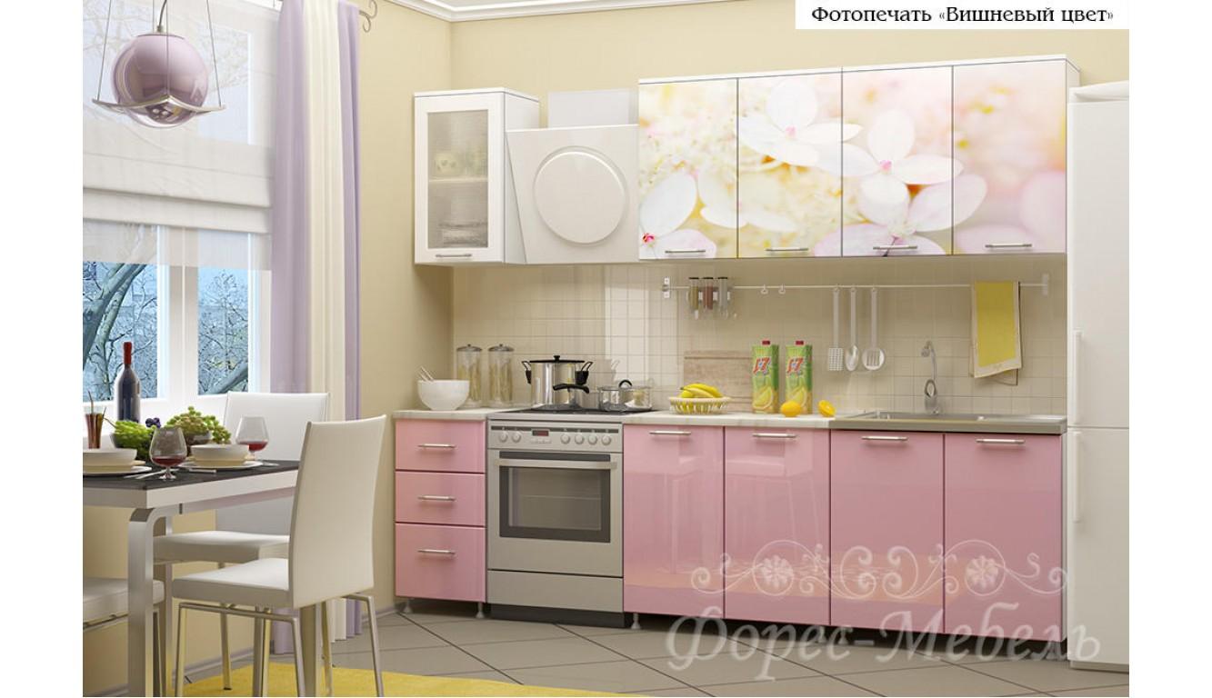 Кухня с фотопечатью Вишневый цвет  ЛДСП 2 метра