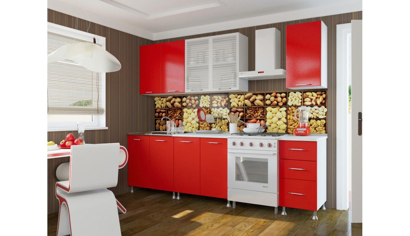 Кухня  Красный ЛДСП  2м.