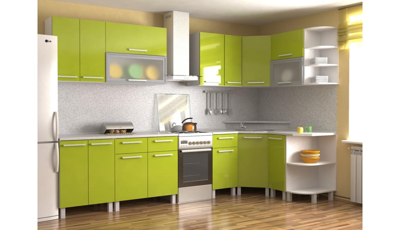 Кухня Техно Эвкалипт глянец 2,2х1,1м.