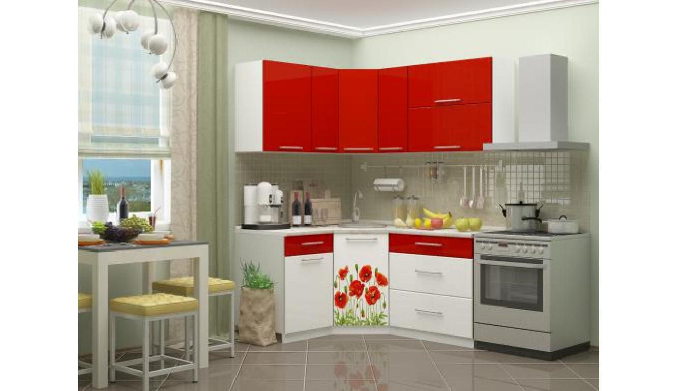 """Кухня """"Маки красные на белом МДФ"""" угловая 1,33х1,63м."""