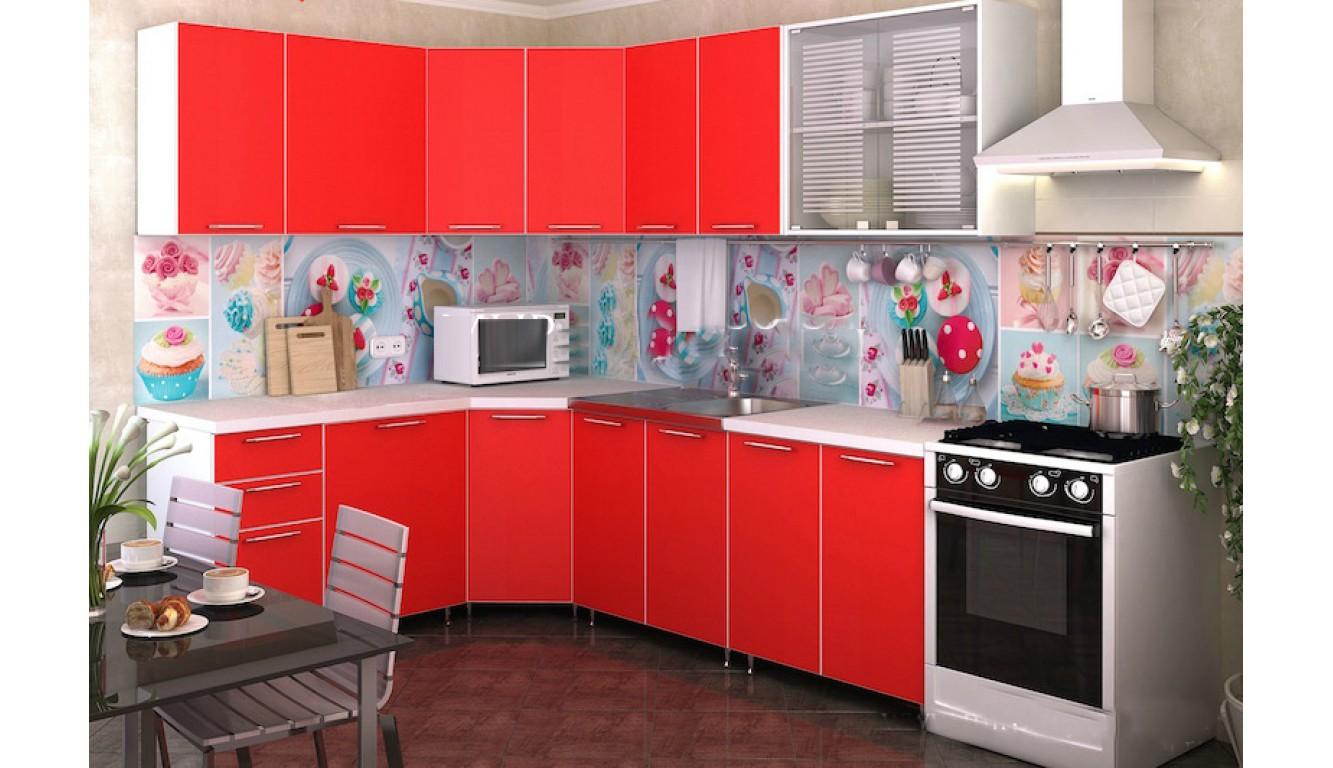 Кухня Красный ЛДСП 1,83х2,13м.