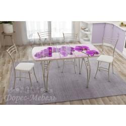 Стол кухонный раздвижной с фотопечатью Орхидея