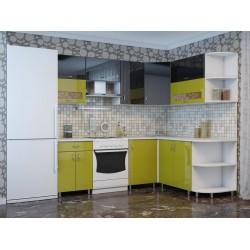 """Кухня """"Микс зелено черный"""" угловая 220х180 см"""