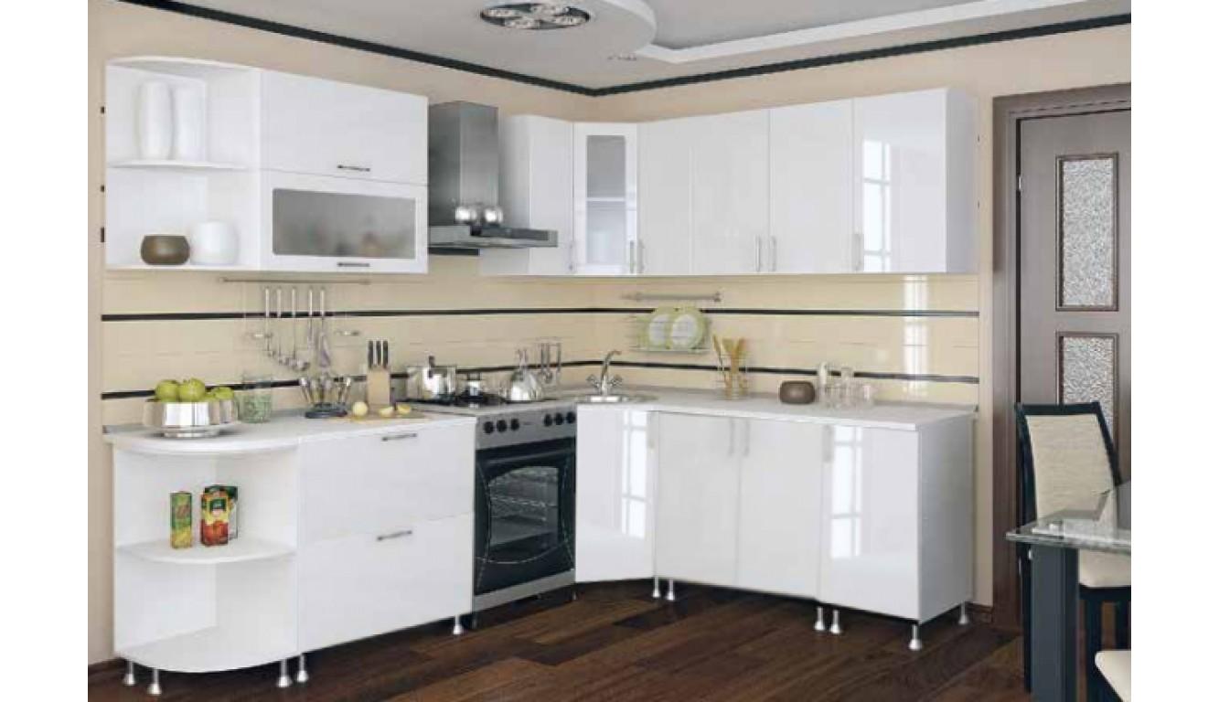 """Кухня Техно  """"Белый глянец"""" 1,96 х 2,06 метра"""