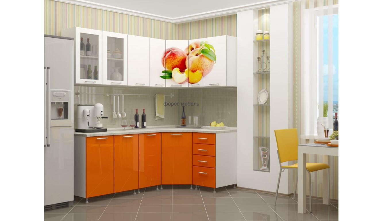 """Кухня """"Персик МДФ""""  угловая 2,15х1,25м."""
