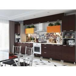 Кухня Техно Шоколад \ оранж  4,2м