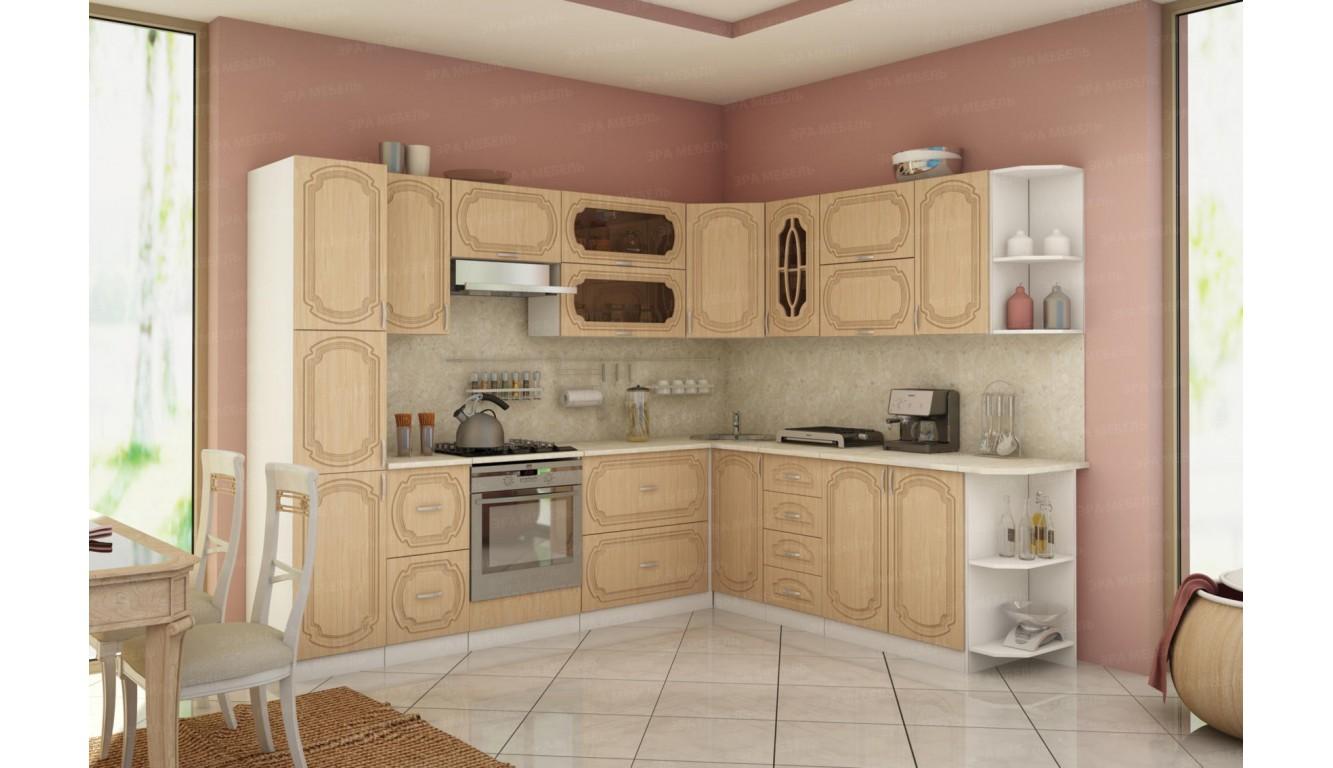Кухня угловая классическая Настя Береза МДФ 2.8 х 2.49м