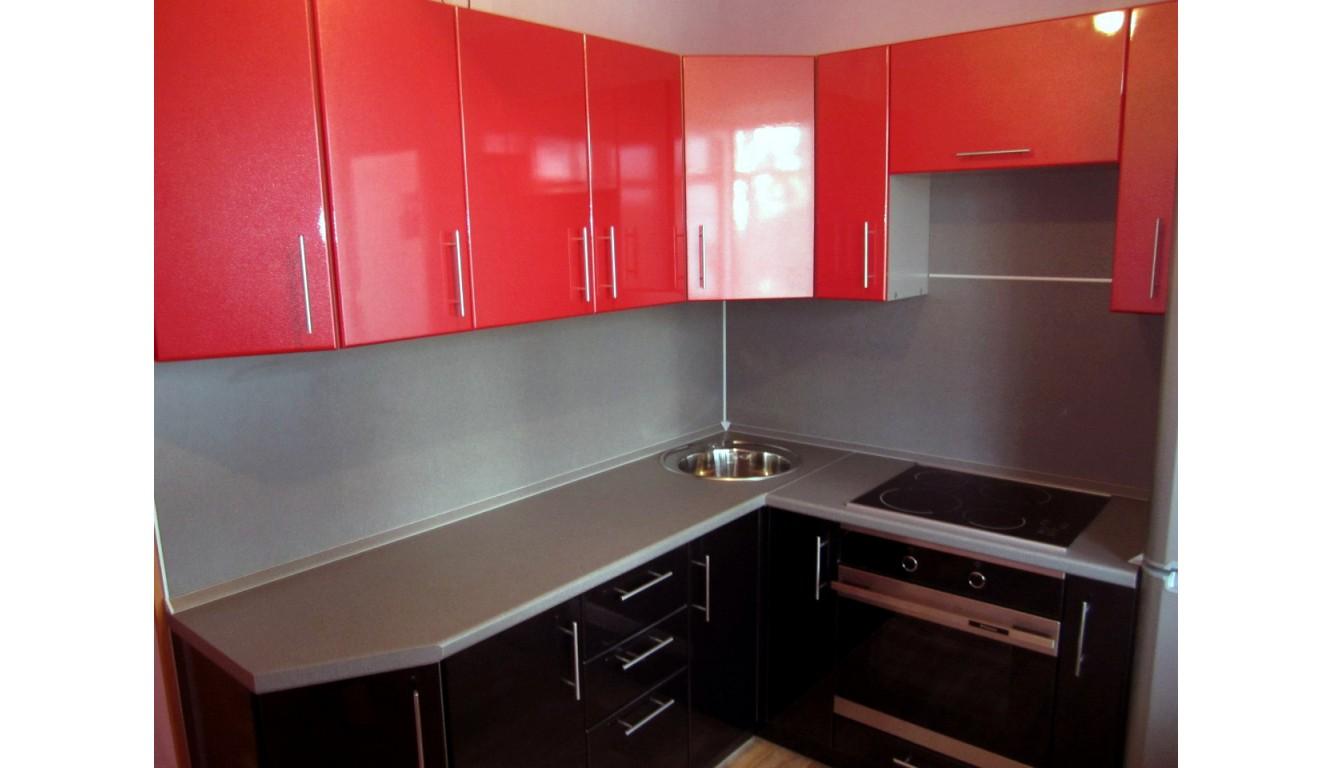 """Кухня угловая Техно черно-красный глянец МДФ""""  2.1м х 1.5м"""