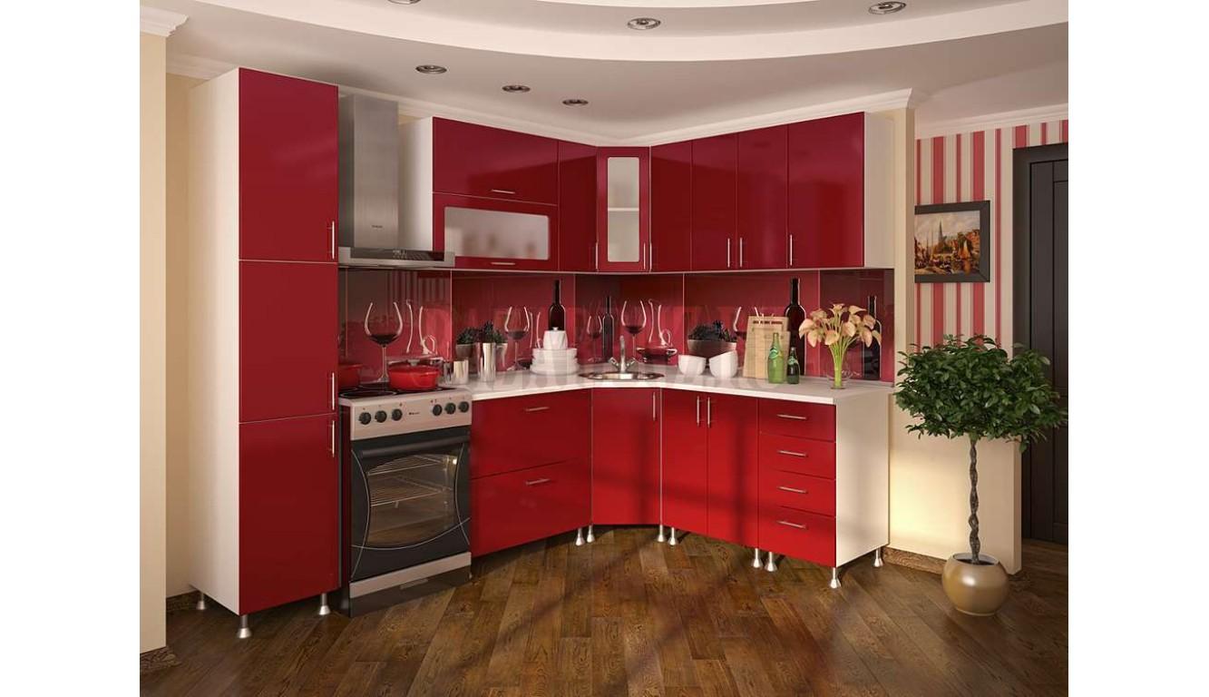 "Кухня Техно ""Красный металлик"" угловая 2,63х2,03м."