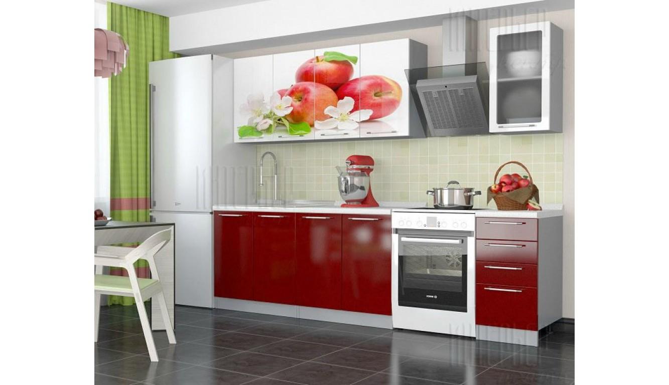 Кухня красное яблоко МДФ 2 метра