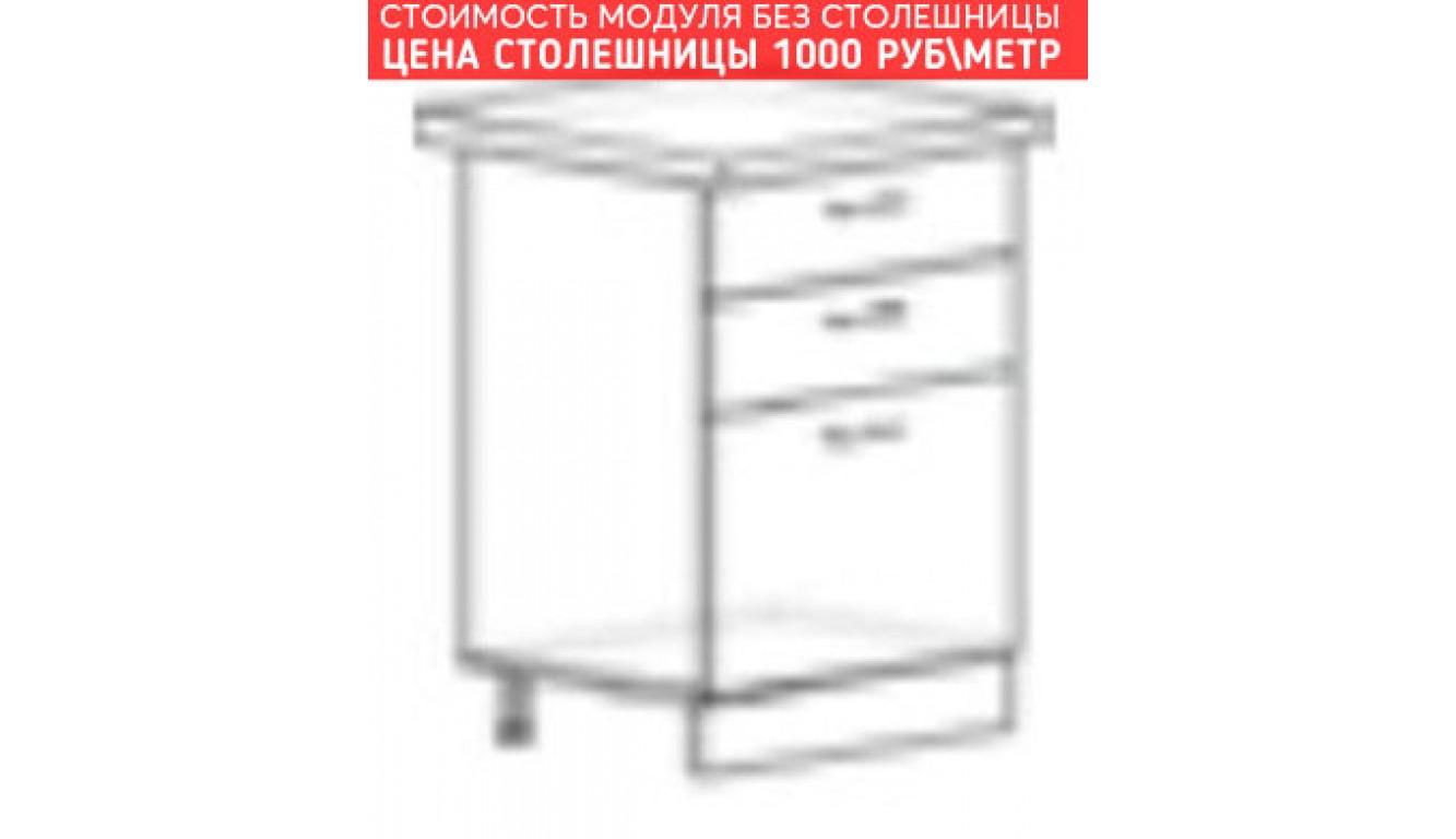 МДФ Шкаф нижний с 3 ящиками (600х840х474)