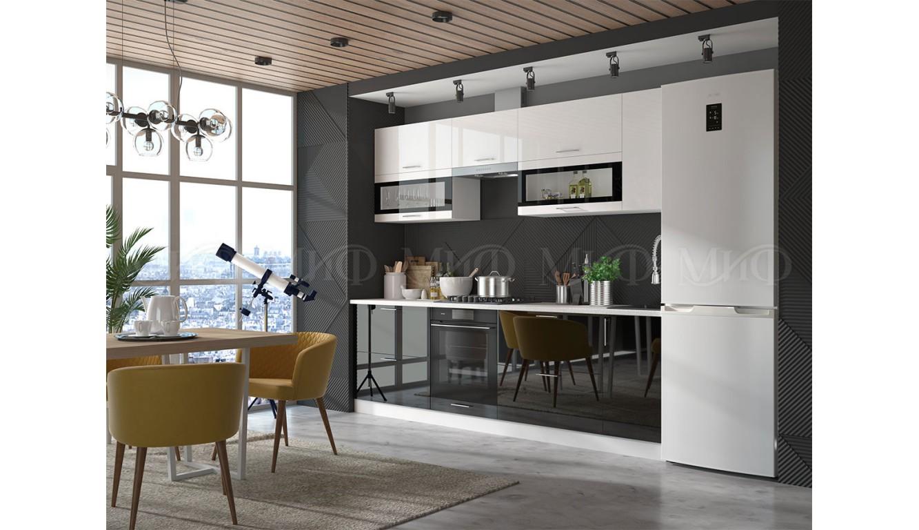 Кухня Рио белый \ черный глянец 2,7м
