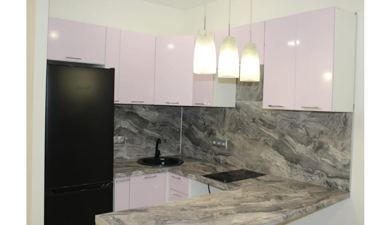"""Кухня """"Розовый металлик МДФ"""" угловая 1,15х2,2х1,8м"""