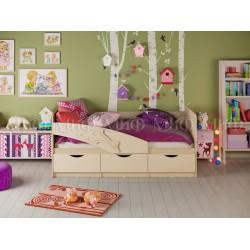 """Детская кровать""""Дельфин"""" Оранжевый 1,6 х 0,8м"""
